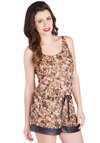 Garden of Dreams Sleep Top - Sheer, Woven, Brown, Multi, Floral, 40s, Tank top (2 thick straps), Scoop