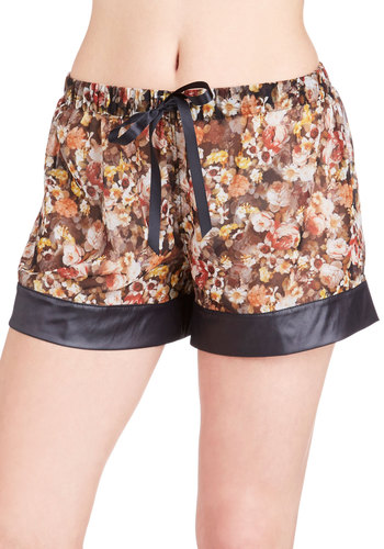 Garden of Dreams Sleep Shorts - Woven, Brown, Multi, Floral, Trim, 40s