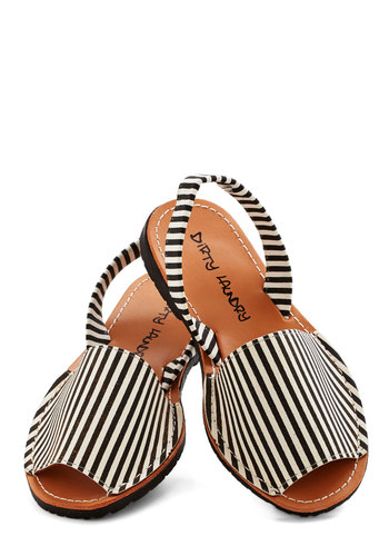 Santa Harmonica Sandal in Stripes - Flat, Faux Leather, Stripes, Summer, Good, Slingback, Black, White, Casual, Beach/Resort, Americana