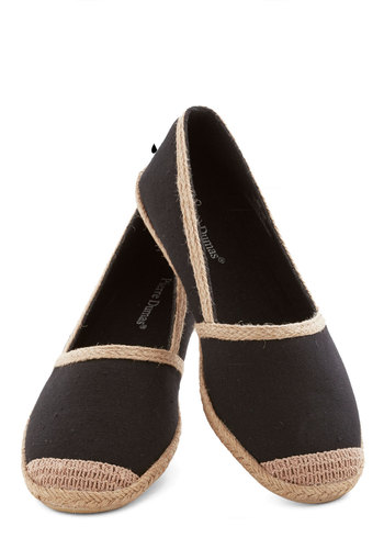 Exploring Excursion Flat - Flat, Woven, Black, Tan / Cream, Solid, Casual, Good, Espadrille, Nautical