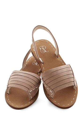 Corner Bookstore Sandal - Flat, Leather, Suede, Tan, Solid, Beach/Resort, Summer, Better, Strappy, Casual