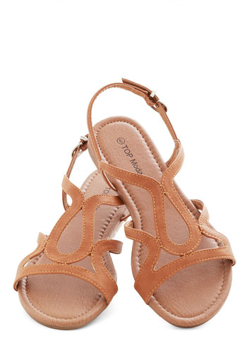 Cafe Circuit Sandal in Latte - Flat, Faux Leather, Tan, Solid, Cutout, Beach/Resort, Summer, Good, Strappy, Casual
