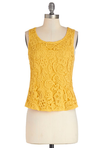 Pastry Artist Top - Better, Yellow, Sleeveless, Cotton, Woven, Short, Yellow, Solid, Daytime Party, Spring, Summer, Crochet, Casual, Tank top (2 thick straps), Scoop, Good