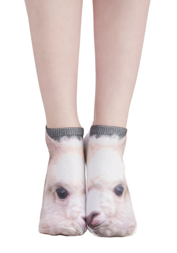 Llama Palooza Socks - White, Multi, Print with Animals, Quirky, Good, Knit, Casual, Critters, Top Rated