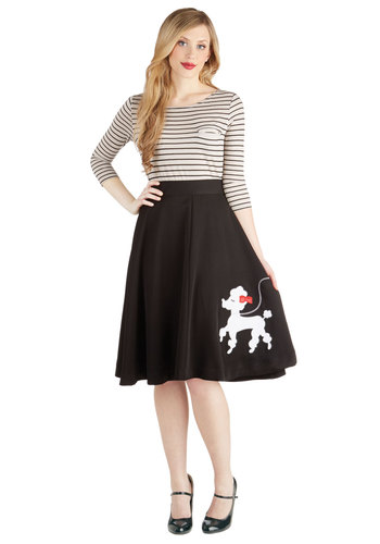 Chic Companion Skirt in Chien by Bea & Dot - Long, Woven, Exclusives, Black, Print with Animals, Rockabilly, Pinup, Vintage Inspired, 50s, Private Label, Rhinestones, Variation, Ballerina / Tutu, Black