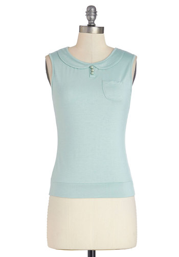 Mid-Morning Break Top - Knit, Mid-length, Mint, Solid, Buttons, Peter Pan Collar, Pockets, Work, Sleeveless, Collared, Blue, Sleeveless, Pastel