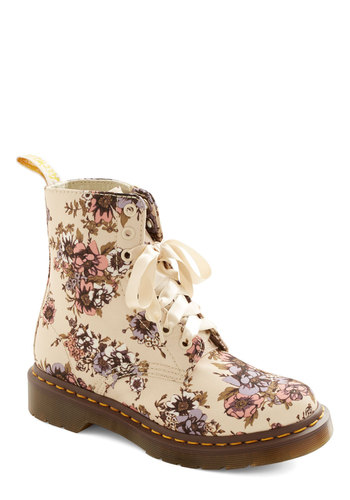 In the Botanic of Time Boot by Dr. Martens - Low, Woven, Cream, Floral, Best, Lace Up, Multi, Vintage Inspired, 90s, Spring, Statement