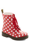 Drops of Dots Rain Boot by Dr. Martens - Low, Red, Black, White, Polka Dots, Better, Lace Up, Casual, Vintage Inspired, 90s, Spring, Statement