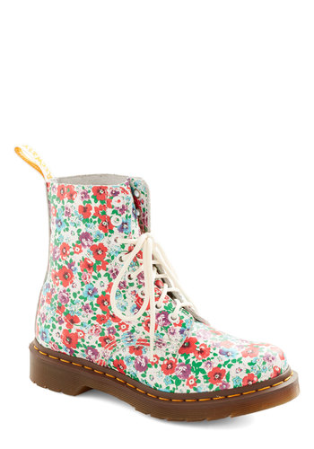 Fresh Beat Boot by Dr. Martens - Low, Leather, Floral, Best, Lace Up, Multi, White, Casual, Vintage Inspired, 90s, Spring, Statement