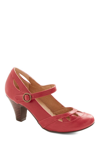 The More the Mary Janes Heel by Chelsea Crew - Mid, Faux Leather, Red, Solid, Cutout, Valentine's, Better, Mary Jane, Work, Vintage Inspired, 40s