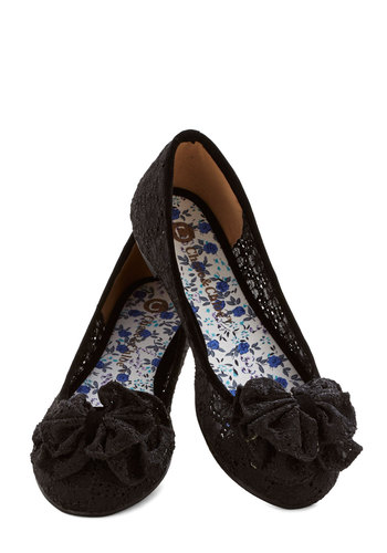 Charming Melody Flat in Black - Flat, Woven, Black, Solid, Bows, Lace, Casual, Good, Lace