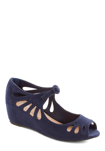 Lyon Your Mark Wedge in Nightfall - Mid, Faux Leather, Blue, Solid, Cutout, Party, Good, Wedge, Peep Toe, Variation