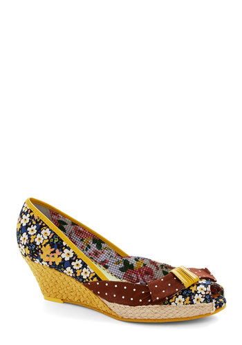Up to Parlor Wedge by Poetic License - Yellow, Multi, Floral, Bows, Daytime Party, Mid, Best, Wedge, Woven, Woven, Peep Toe