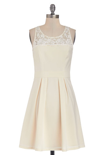 Simply Sweet Dress - Cream, Solid, Lace, Pearls, Pleats, Wedding, Bride, A-line, Sleeveless, Better, Scoop, Knit, Mid-length, Embroidery, Spring
