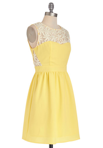 Lemonade for Each Other Dress - Yellow, Exposed zipper, Lace, A-line, Sleeveless, Better, Scoop, Sheer, Woven, Short, Daytime Party, Tan / Cream, Spring, Sundress
