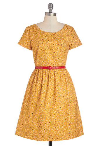 See the Delight Dress by Bea & Dot - Yellow, Vintage Inspired, 50s, A-line, Short Sleeves, Exclusives, Private Label, Multi, Casual, Pockets, Cotton, Woven, Novelty Print, Belted, Scoop, Show On Featured Sale, Mid-length