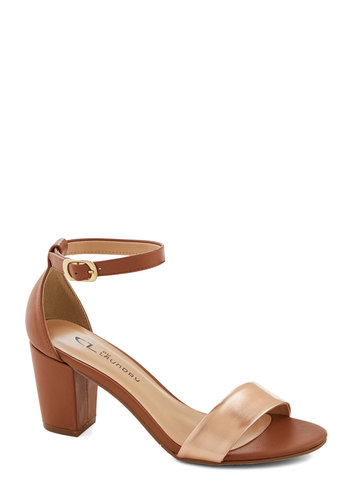Industrial I Need Heel - Mid, Faux Leather, Tan / Cream, Solid, Party, Good, Chunky heel, Copper, Minimal