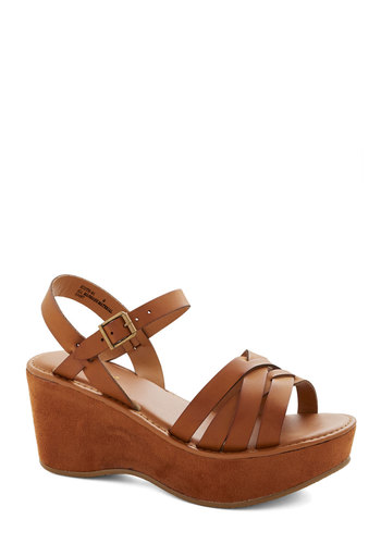 Inlet Your Hair Down Wedge - Mid, Faux Leather, Tan, Solid, Daytime Party, Good, Platform, Wedge, Boho, Strappy, Summer