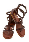 Strap Happy Sandal - Flat, Faux Leather, Brown, Solid, Casual, Summer, Good, Strappy, Festival, Boho