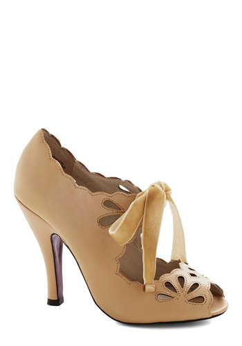 Dainty Dramaturge Heel in Tan - Wedding, Bride, High, Leather, Tan, Solid, Cutout, Scallops