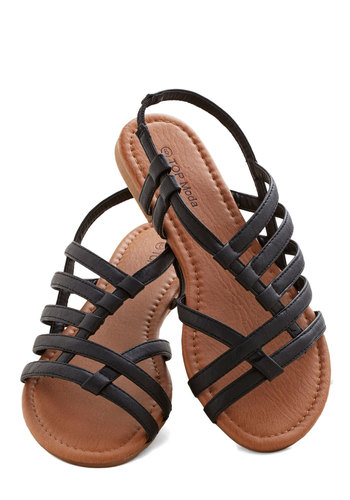 Corner Bistro Sandal in Black - Flat, Faux Leather, Black, Solid, Beach/Resort, Summer, Good, Strappy, Casual, Variation, Festival, Boho