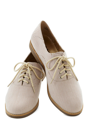 Book and See Flat - Low, Woven, Cream, Stripes, Menswear Inspired, Good, Lace Up, Casual