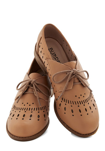 Textile Support Flat in Flat in Tan - Low, Faux Leather, Tan, Solid, Cutout, Menswear Inspired, Good, Lace Up, Variation