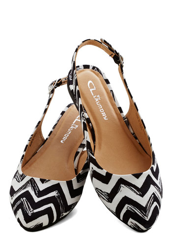 Candlelight Up the Room Flat in Chevrons - Flat, Woven, Chevron, Daytime Party, Good, Slingback, Black, White, Variation