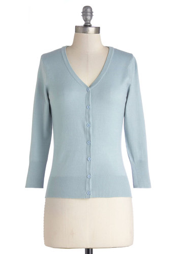 Charter School Cardigan in Baby Blue - Knit, Blue, Solid, Buttons, Work, Pastel, Darling, Spring, Good, Blue, 3/4 Sleeve, 3/4 Sleeve, Variation, Nautical, Casual, 60s, Beach/Resort, Mid-length, Best Seller, Top Rated, WPI