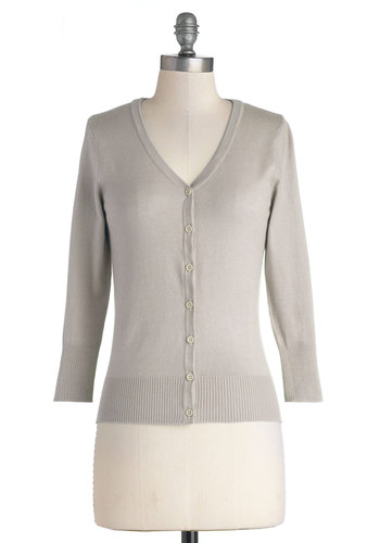 Charter School Cardigan in Fog - Knit, Grey, Solid, Buttons, Work, 3/4 Sleeve, Good, Variation, Grey, 3/4 Sleeve, Spring, Pastel, 60s, Beach/Resort, Mid-length, Best Seller, Social Placements, Top Rated, Fall, Gals, 4th of July Sale