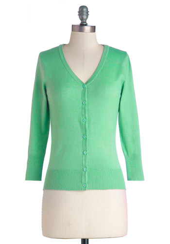 Charter School Cardigan in Jade - Knit, Green, Solid, Buttons, Work, Darling, Spring, Good, Variation, Green, 3/4 Sleeve, 3/4 Sleeve, Casual, Pastel, 60s, Short, Fruits, Best Seller, WPI