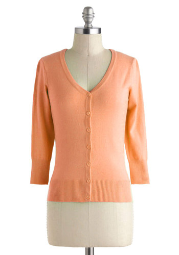 Charter School Cardigan in Peach - Knit, Short, Orange, Solid, Buttons, Pastel, 3/4 Sleeve, Spring, Variation, Orange, 3/4 Sleeve, Work, Casual, 60s, Fruits, Best Seller