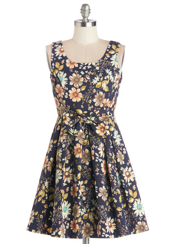 Retro Market Maven Dress - Multi, Floral, Bows, Daytime Party, A-line, Tank top (2 thick straps), Better, Scoop, Woven, Spring, Short, Top Rated, Full-Size Run