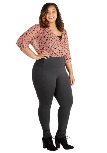 On-the-Go Glam Leggings in Charcoal - Plus Size - Knit, Grey, Solid, Minimal, Skinny, Variation, Lounge