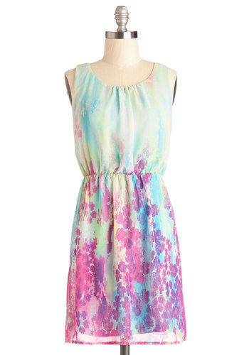 You've Got the Bright Stuff Dress - Chiffon, Woven, Short, Multi, Floral, Casual, A-line, Tank top (2 thick straps), Good, Scoop, Spring, Summer