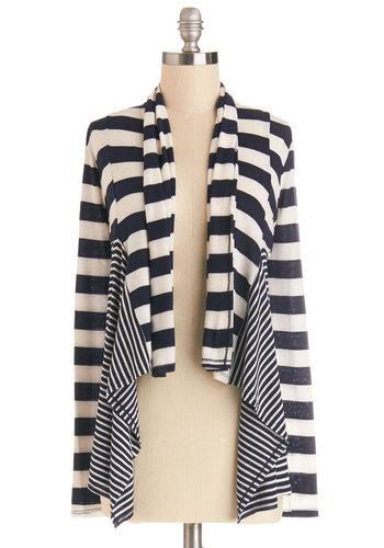 Reading Nook Afternoon Cardigan - Knit, Mid-length, White, Stripes, Casual, Nautical, Long Sleeve, Blue, Long Sleeve, Spring, Blue