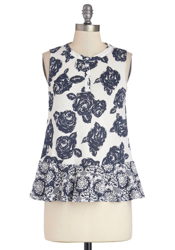 Daytime Dancing Top - Mid-length, Cotton, Knit, Multi, Blue, White, Floral, Work, Daytime Party, Sleeveless, Spring, Summer, Multi, Sleeveless, Buttons, Good