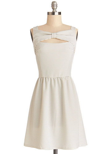 Keepin' It Reel Dress - Black, White, Stripes, Bows, Casual, A-line, Sleeveless, Good, Knit, Short, Cutout