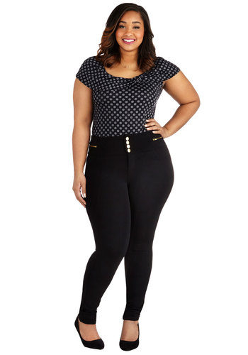 Better Shake Up Pants in Black - Plus Size - Knit, Black, Solid, Buttons, Exposed zipper, Pockets, Casual, Skinny