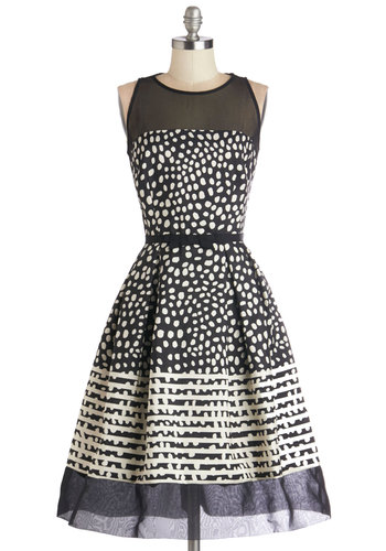 Champagne Cocktails Dress - Black, Print, Belted, Party, Sleeveless, Better, Scoop, Prom, Fit & Flare, White, Polka Dots, Long, Sheer, Woven, Pockets, Special Occasion, Homecoming