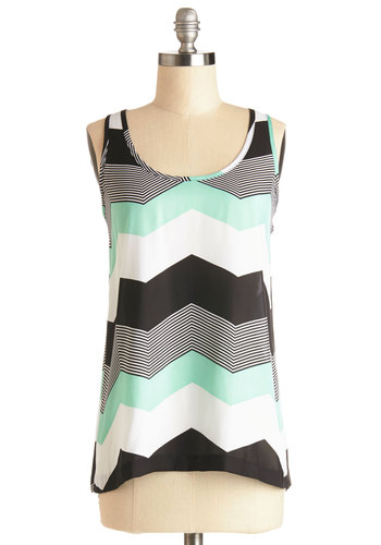 Shoppin' in Chi-Town Top by Jack by BB Dakota - Multi, Sleeveless, Sheer, Woven, Mid-length, Multi, Black, White, Mint, Chevron, Summer, Tank top (2 thick straps), Exclusives, Scoop, Spring, Good