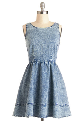 Sculpture Park Picnic Dress - Spring, Denim, Woven, Short, Blue, Solid, Casual, Fit & Flare, Tank top (2 thick straps), Good, Scoop, 90s