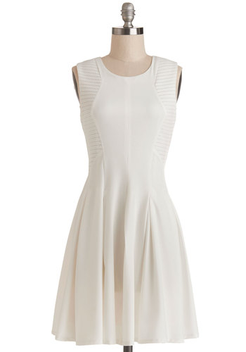 Mixer and Match Dress - Casual, A-line, Sleeveless, Good, Sheer, Woven, Mid-length, White, Solid, Exposed zipper