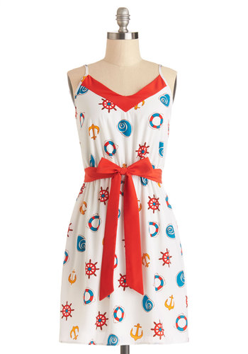 Seashore Celebration Dress - Multi, Novelty Print, Belted, Casual, Nautical, A-line, Spaghetti Straps, Good, V Neck, Woven, Short, Sundress, Spring, Summer