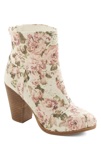 Perennial Ponderings Bootie - Mid, Woven, Cream, Multi, Floral, Fairytale, Good, Valentine's