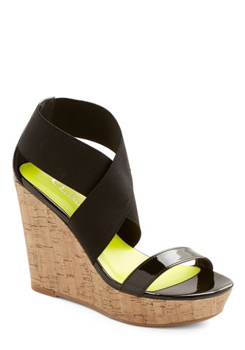 Sleek Steppin' Wedge - High, Faux Leather, Black, Tan / Cream, Solid, Party, Summer, Good, Strappy, Girls Night Out, Platform, Wedge, Social Placements