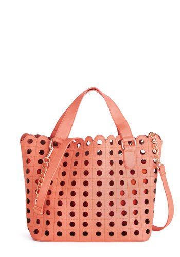 Summertime Fabness Bag - Coral, Solid, Scallops, Daytime Party, Beach/Resort, Faux Leather, Better, Cutout, Travel, Social Placements