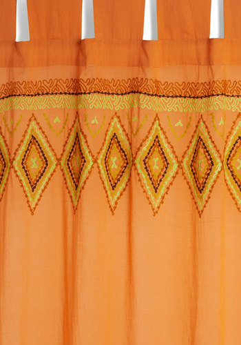 Bo-Home Sweet Home Curtain by Karma Living - Cotton, Sheer, Woven, Orange, Boho, 70s, Better, Multi, Festival, Summer