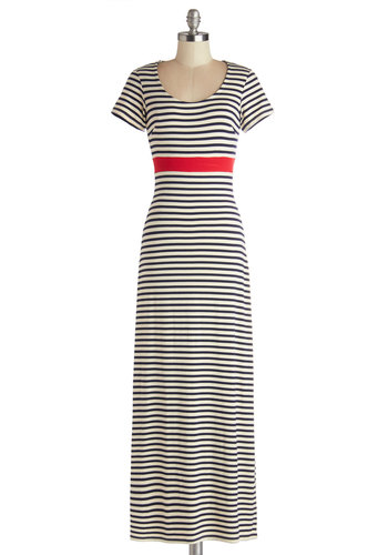Cookout Cutie Dress - Jersey, Knit, Long, Red, Blue, White, Stripes, Casual, Nautical, Maxi, Short Sleeves, Better, Scoop