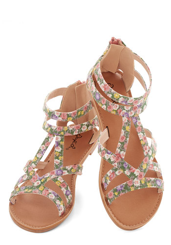 Springtime Staple Sandal - Flat, Faux Leather, Woven, Multi, Floral, Casual, Good, Strappy, Spring